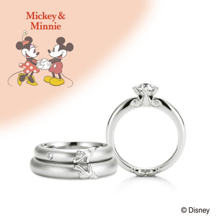 Disney Treasure系列米奇與米妮對戒。圖/K.UNO提供