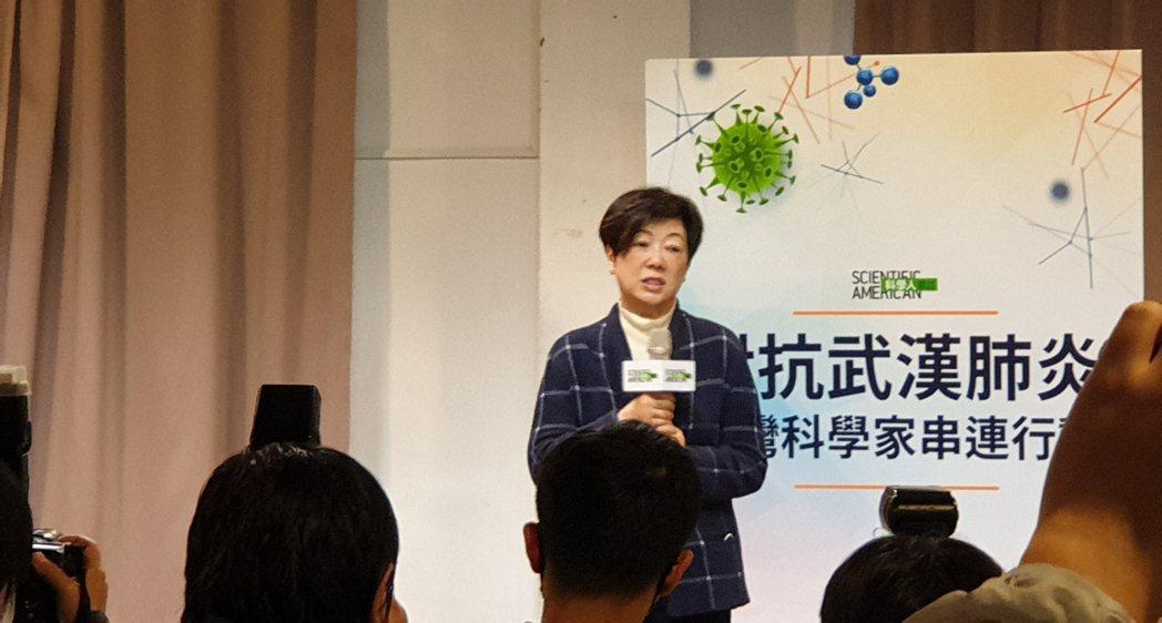 張淑芬日前曾參加科技界針對新冠肺炎的記者會。 記者陳宛茜/攝影