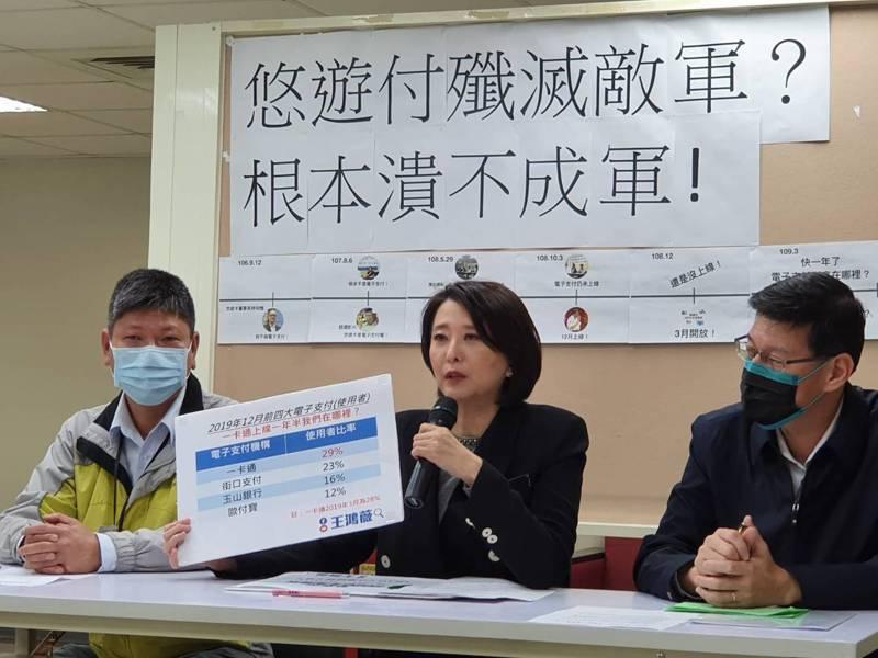 台北市議員王鴻薇(中)指悠遊卡最大對手一卡通電子支付上線19個月,悠遊卡仍牛步化,市長柯文哲去年還說要殲滅敵軍,現在根本潰不成軍。 記者楊正海/攝影