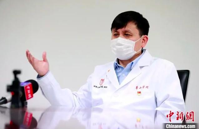 張文宏表示,「關於零號病人,我只認證據」。 (中新社)