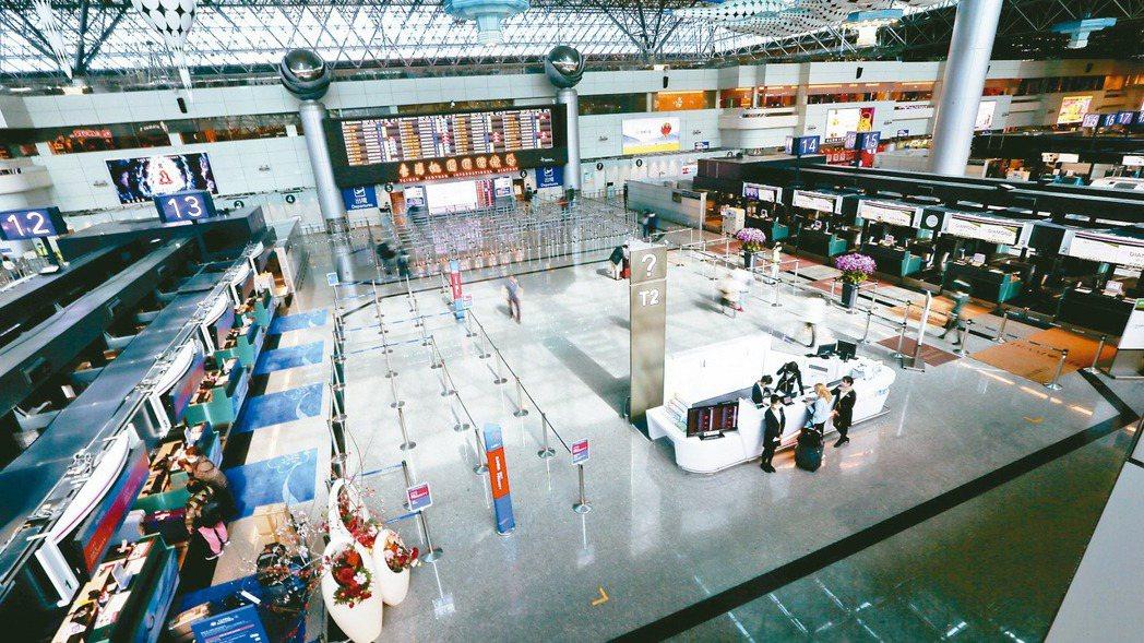 圖為桃園機場第二航廈出境大廳。 報系資料照