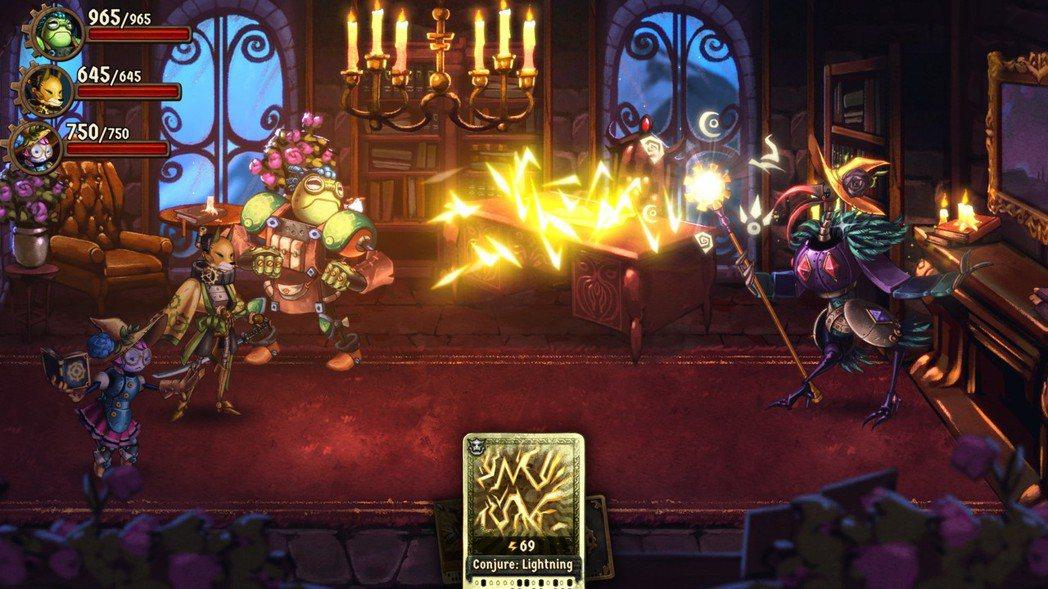 《蒸氣世界:冒險》裡,玩家用卡牌進行回合制戰鬥。來源:Image & Form ...