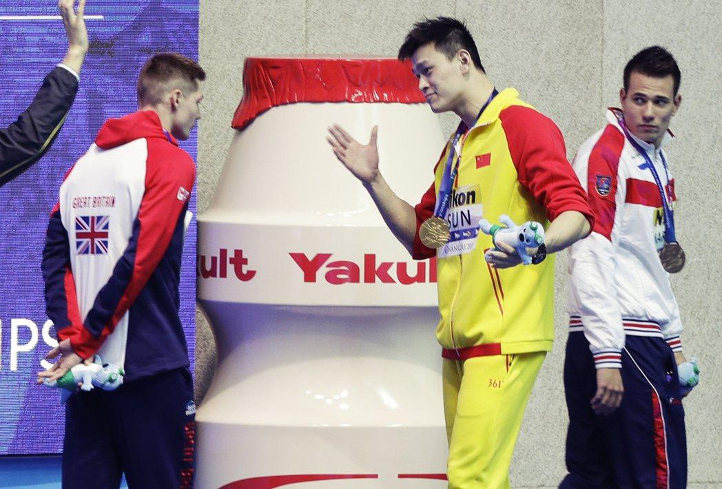 圖為2019世界游泳錦標賽,孫楊在該次賽事怒嗆質疑他清白的選手「你是魯蛇」。 圖...
