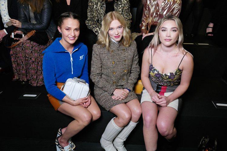 (左起)艾莉西亞薇坎德、蕾雅瑟杜和佛蘿倫絲普伊,是路易威登看秀嘉賓。圖/LV提供
