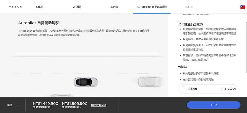 Autopilot自動輔助駕駛系統的選配價格仍維持19.1萬台幣。 圖/特斯拉網...