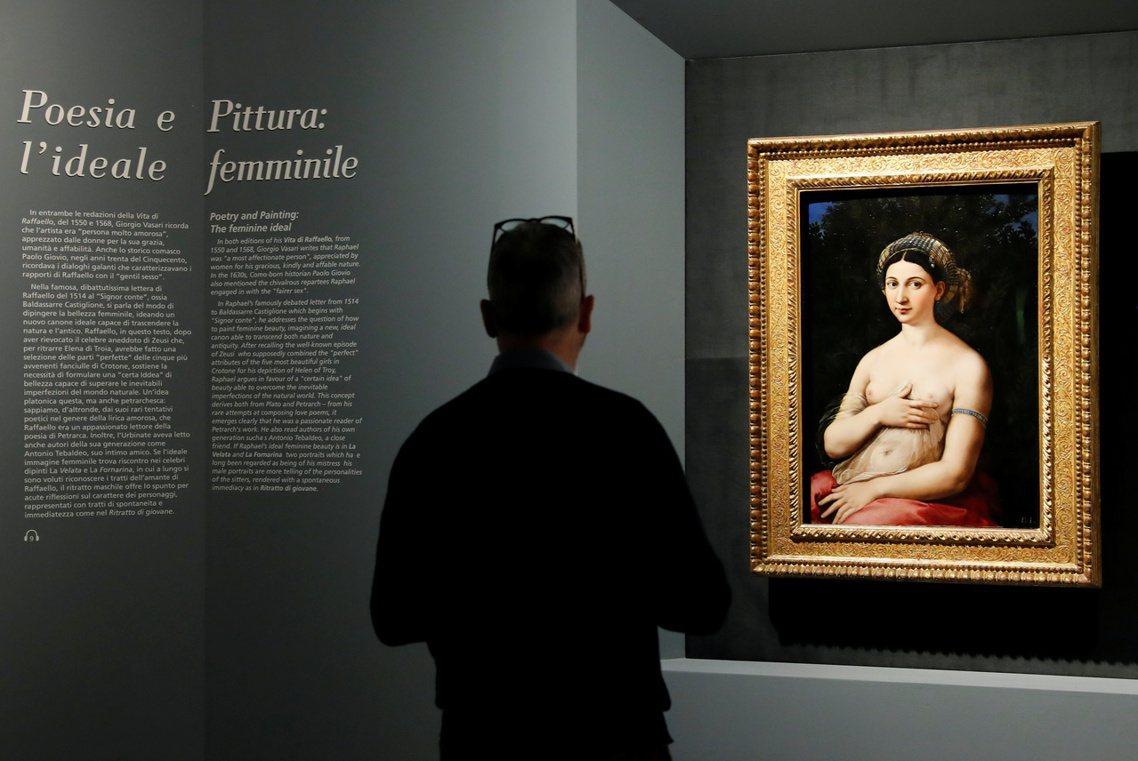 圖為本次拉斐爾500年大展,其中展出的作品之一:年輕女子肖像《La Fornar...