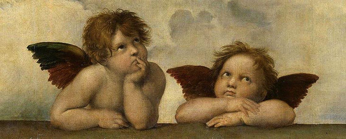 拉斐爾名作1514年《西斯汀聖母》(Sistine Madonna),圖為該座底...