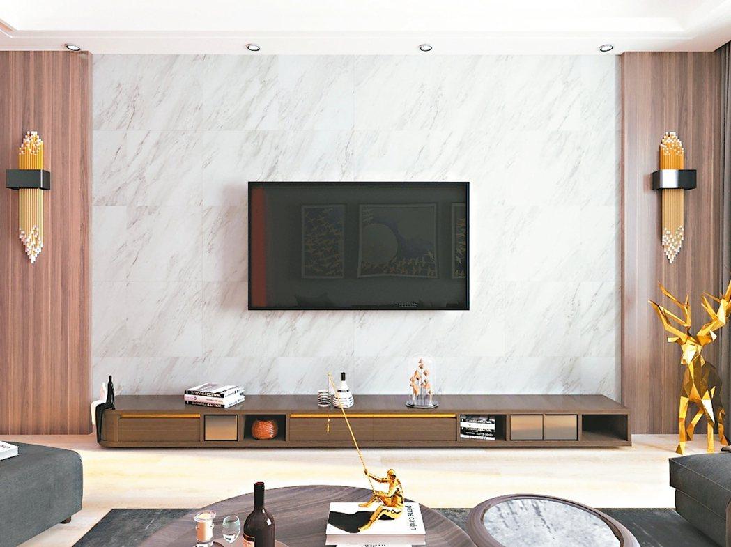木紋自黏地壁兩用磚營造居室溫潤質感。 圖/特力屋提供