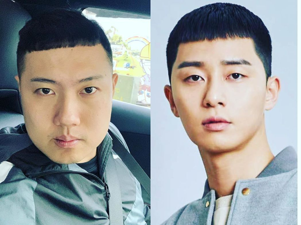 玖壹壹成員洋蔥(左)剪了跟朴敘俊相似的栗子頭。圖/摘自IG