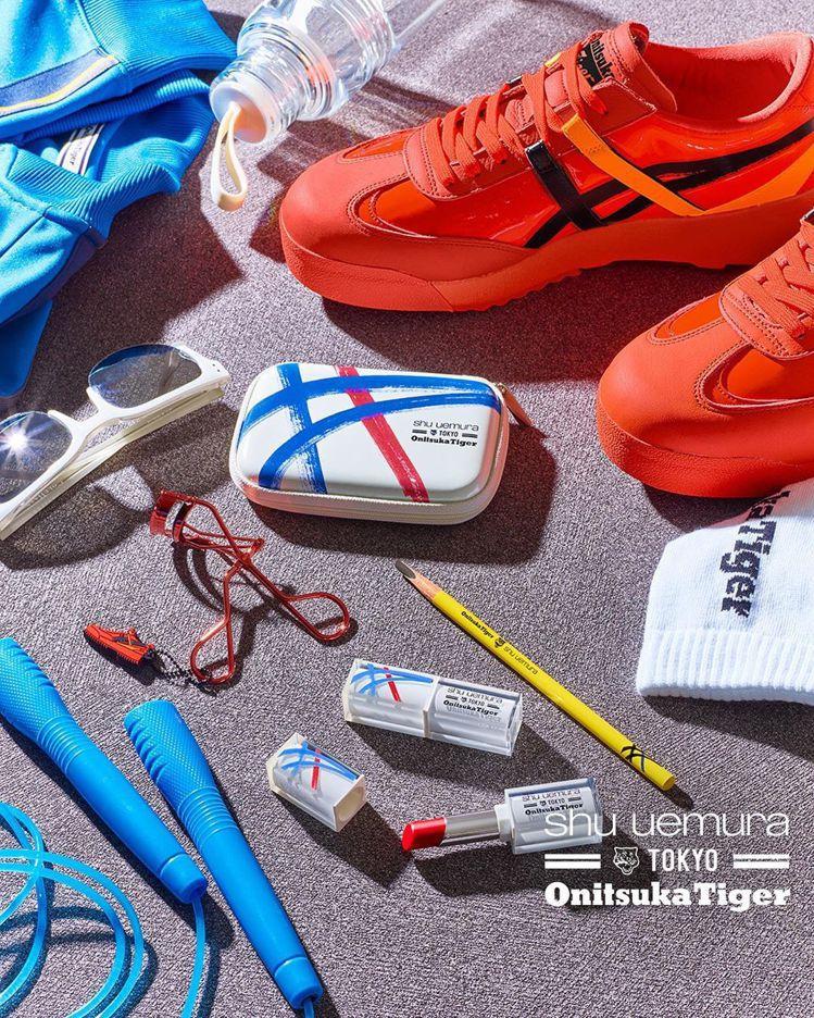 Onitsuka Tiger與彩妝專家植村秀共同合作,推出限定鞋款與彩妝。圖/摘...