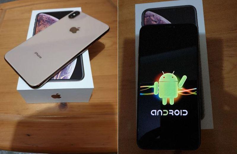 網友花1萬5入手全新iPhone,豈料開機見「安卓小綠人」,氣到飆罵三字經。圖擷自ptt