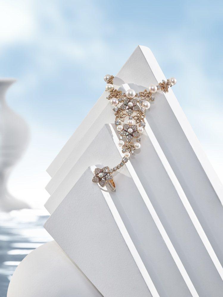 寶格麗JANNAH系列頂級珠寶其中有多款戒指手環,是阿拉伯傳統的珠寶形式。圖/寶...