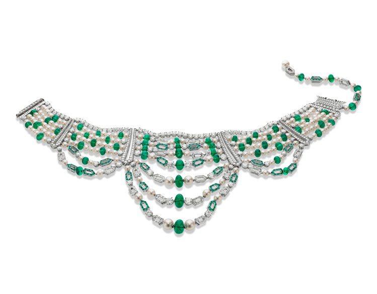 寶格麗JANNAH系列頂級白金祖母綠與鑽石項鍊,售價未定。圖/寶格麗提供