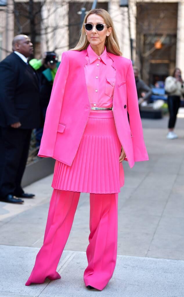 席琳狄翁穿Peter Do的西裝褲裝外搭百褶裙,多層次的穿搭和搶眼的色彩完全顛覆...