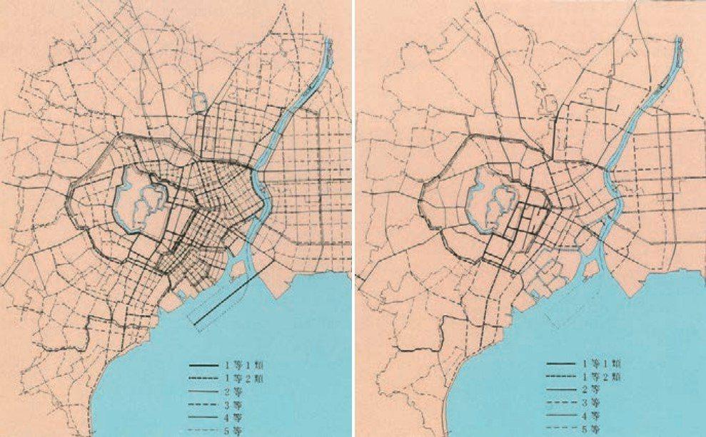 1888年的《東京市區改正條例》計畫圖。 圖/取自東京都都市整備局