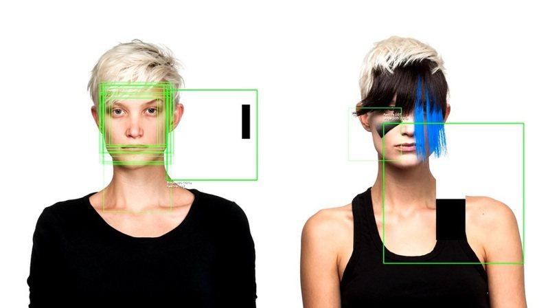 藝術家哈維透過立體主義的風格(如畢卡索)並以對比明顯的線條,讓臉部辨識系統誤判臉部的光影。