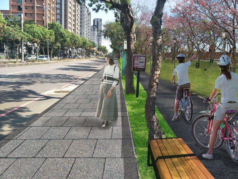 新竹縣興隆路堤岸整體改善計畫,將在河堤廣植櫻花,營造頭前溪北岸花海景觀。 圖/新竹縣府提供