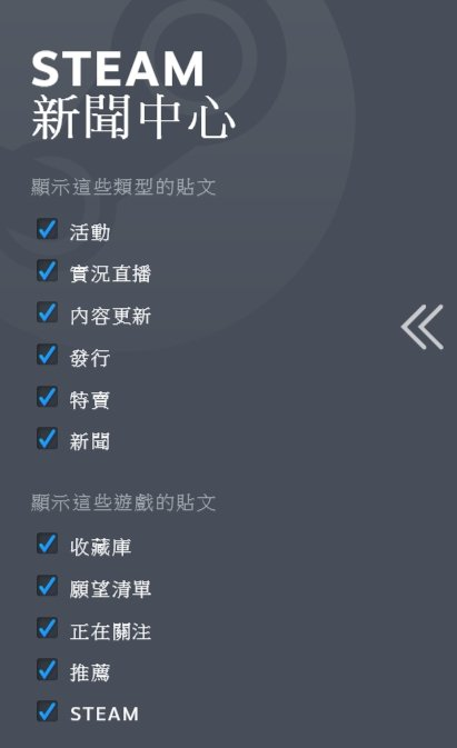 根據玩家勾選的項目,顯示出對應的遊戲貼文。