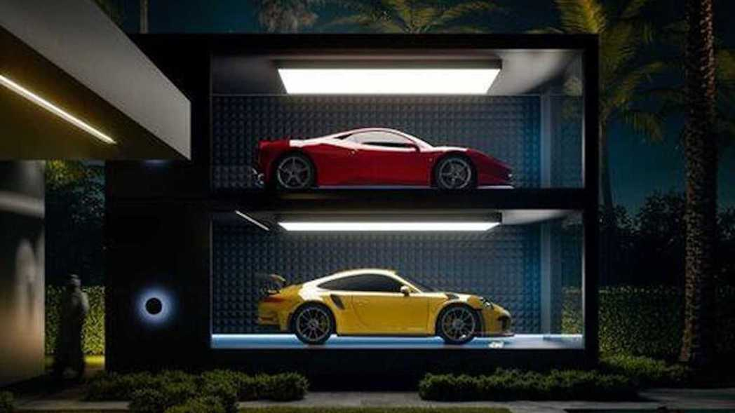 以機械停車塔為發想,用兩層樓的超跑膠囊利用空間。 摘自ASZarchitetti