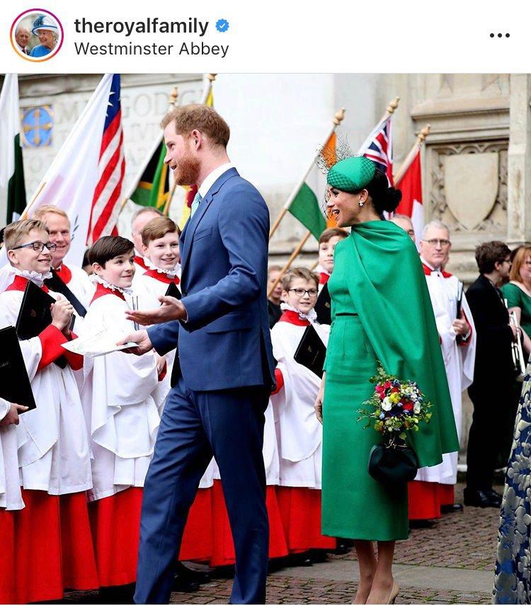梅根與哈利王子出席2020年大英國協聯邦節慶典。圖/取自IG @theroyal...
