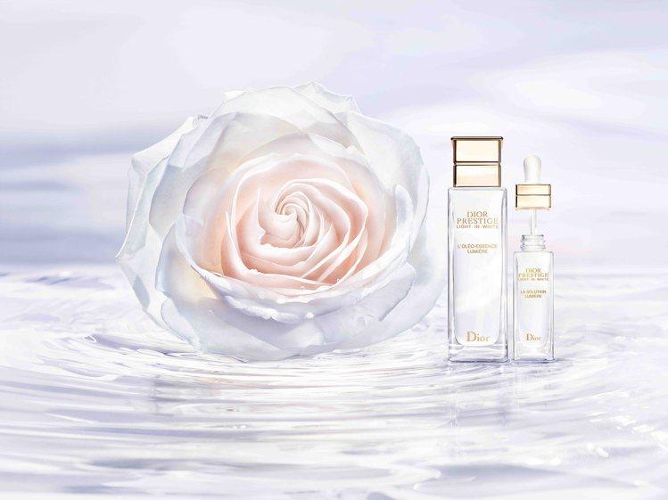 迪奧以岡維拉玫瑰精萃、白玫瑰精萃,打造出「迪奧精萃再生光燦淨白系列」。圖/迪奧提...