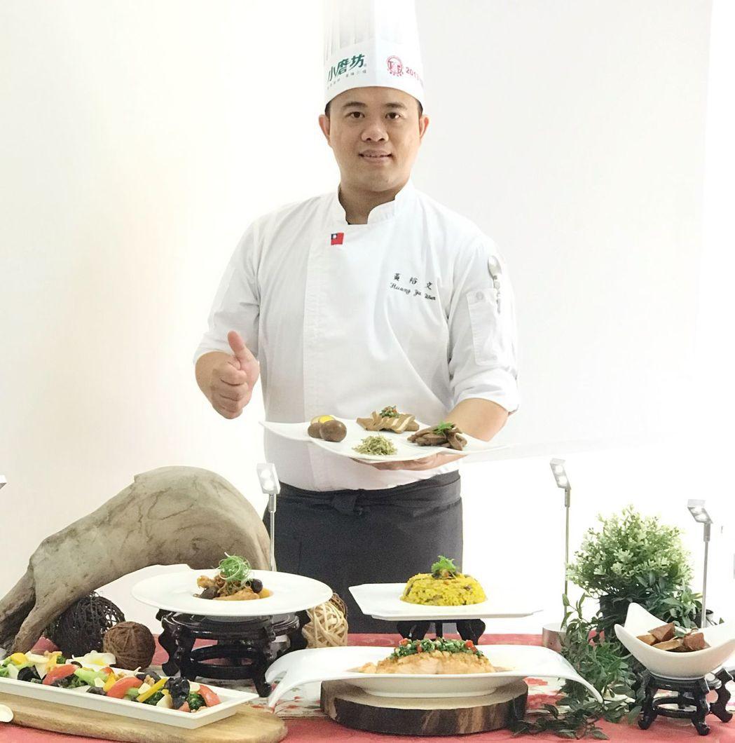 中華醫事科大餐旅系黃裕文老師示範電鍋防疫料理。  華醫科大 提供