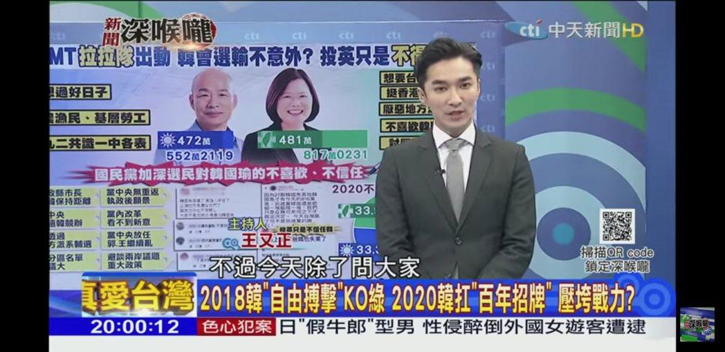 王又正主持中天「新聞深喉嚨」,頗受重用。圖/截自YouTube