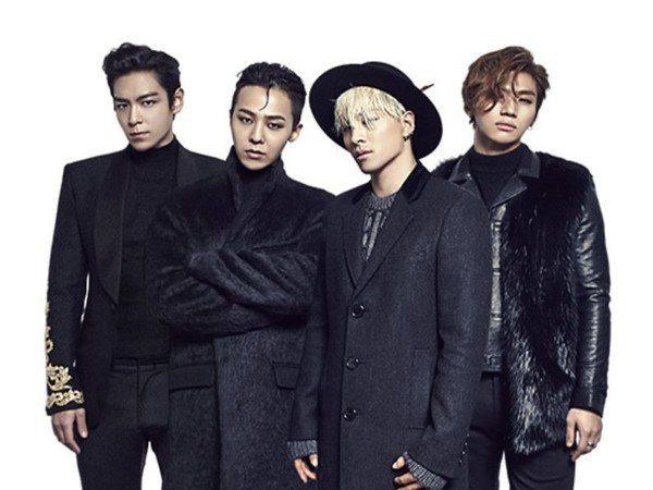 BIGBANG成員T.O.P(左起)、太陽、G-Dragon、大聲與YG娛樂三度