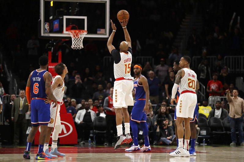 受到NBA停賽影響,這一球可能成為卡特生涯的最後一顆進球。 美聯社