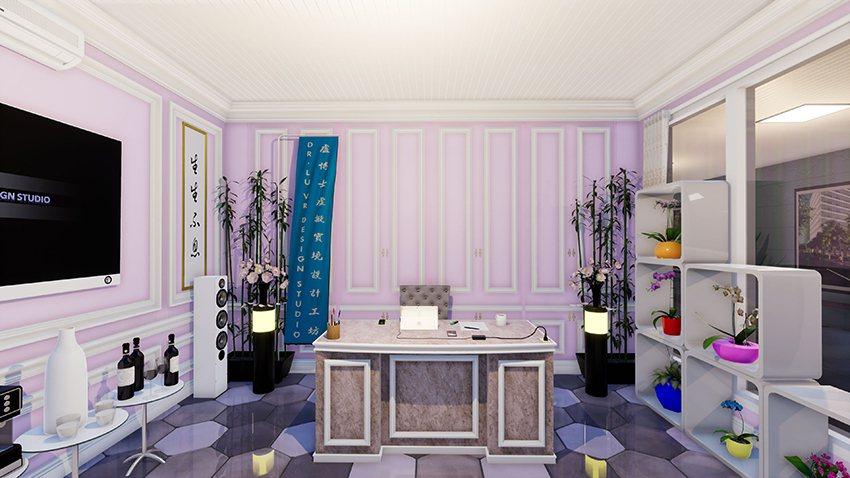盧鴻智創作的VR虛擬實境女性辦公空間設計。 盧博士虛擬實境設計工坊/提供