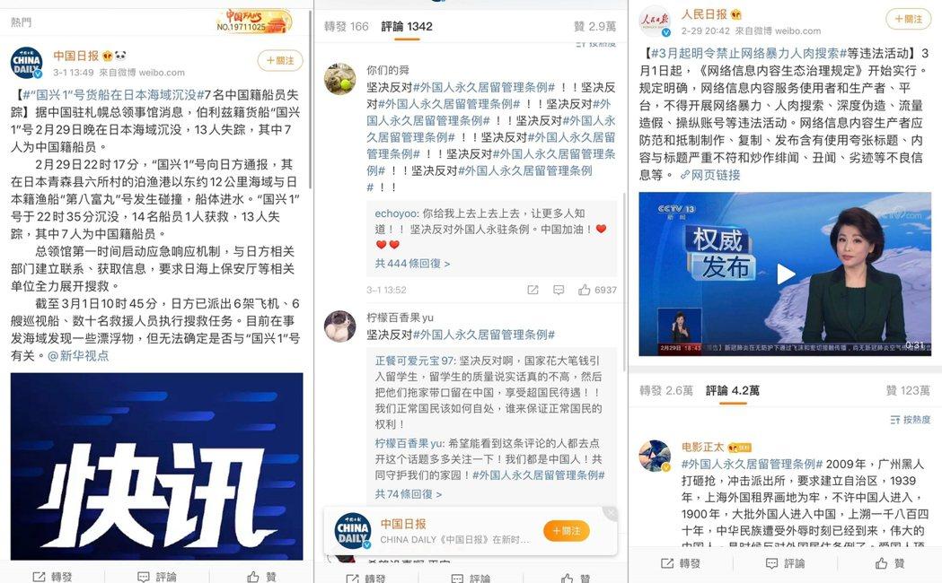 中國網友的各種洗板流言。圖由左至右分別為:左一和左二《中國日報》的新聞底下,出現...
