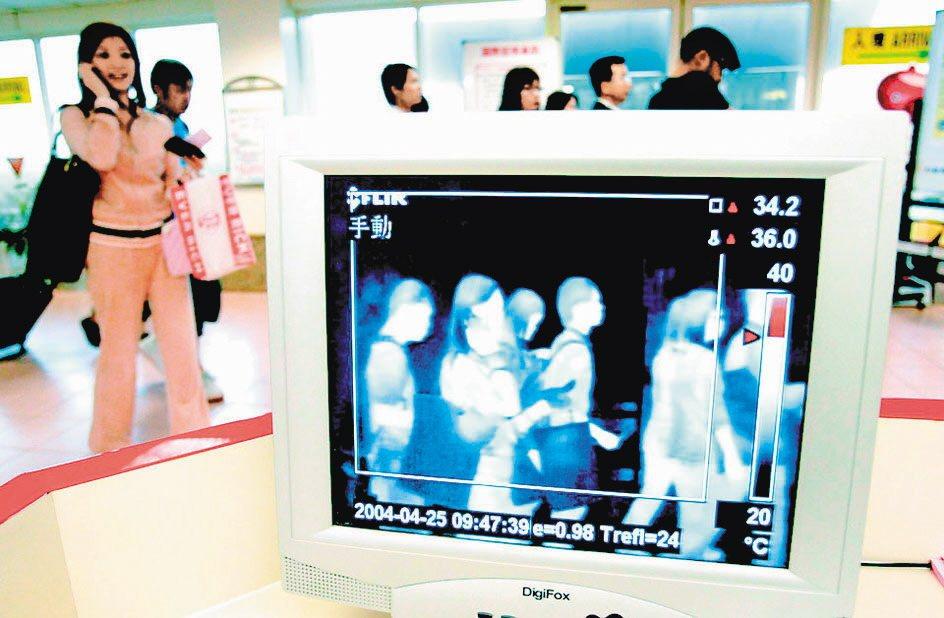 2003年大陸傳出SARS病例,中正機場啟動防疫,入境旅客都必須量測體溫。本報資...