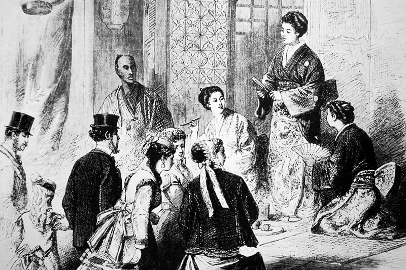 日本藝伎表演歌唱。翻拍自《圖說萬國博覽會史》,吉田光邦編,思文閣出版。 圖/作者提供