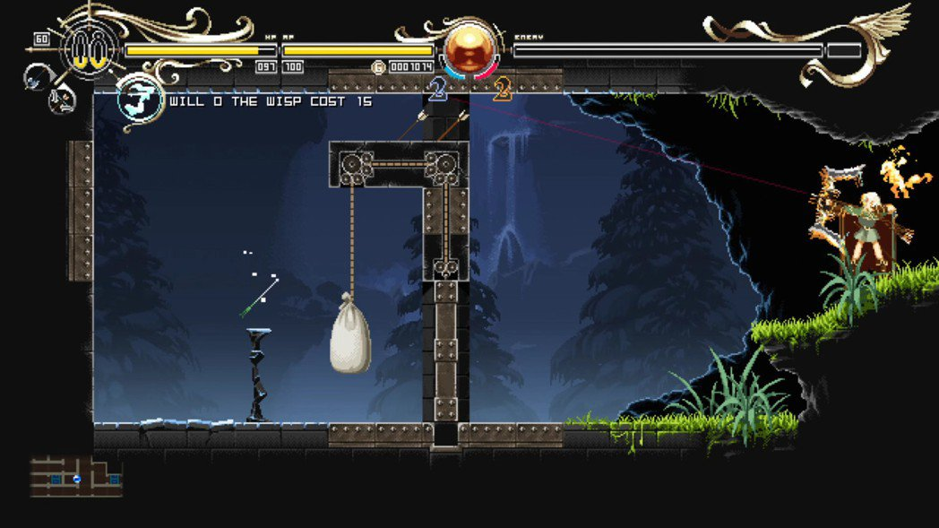 遊戲的關卡中也有需要解謎的,最常出現的是利用弓箭進行反射開啟機關的房間,需要稍微...