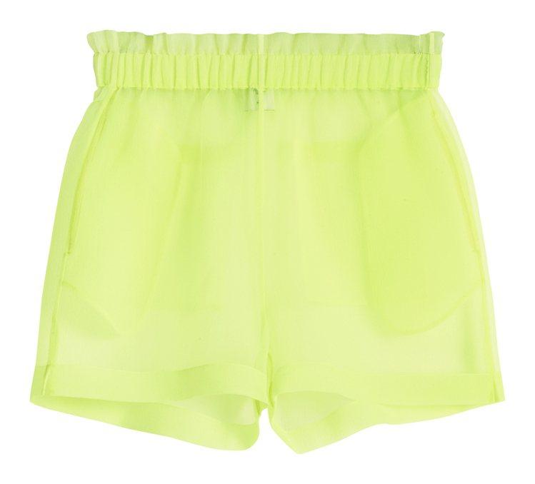 H&M的Justine Skye聯名系列螢光綠短褲699元。圖/H&am...