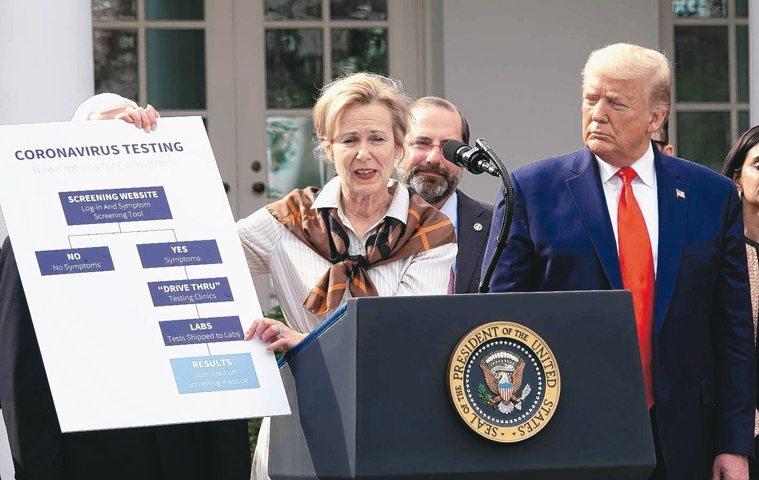 美國總統川普(右)13日下午3時在白宮舉行「新冠肺炎」記者會,由HIV專家、新冠...
