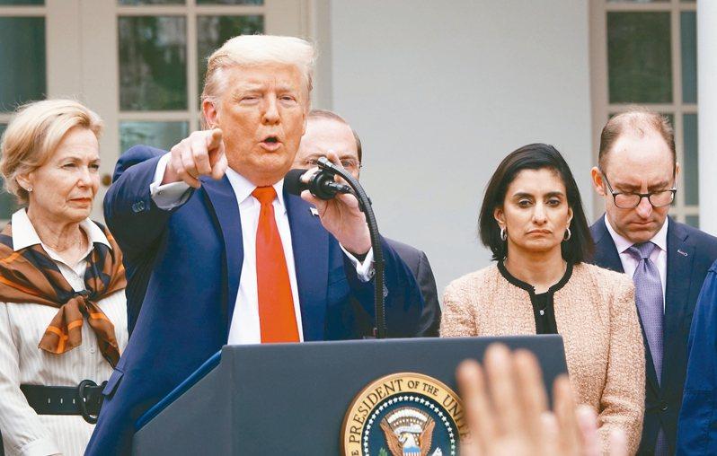 美國總統川普在白宮舉行記者會,宣布全美進入緊急狀態,讓川普動用行政權力和聯邦資金指揮調度各地救災防疫。 華盛頓記者張文馨/攝影