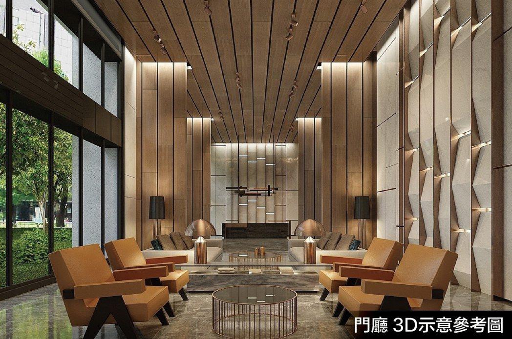 門廳3D示意參考圖。圖片提供/隆大營建事業