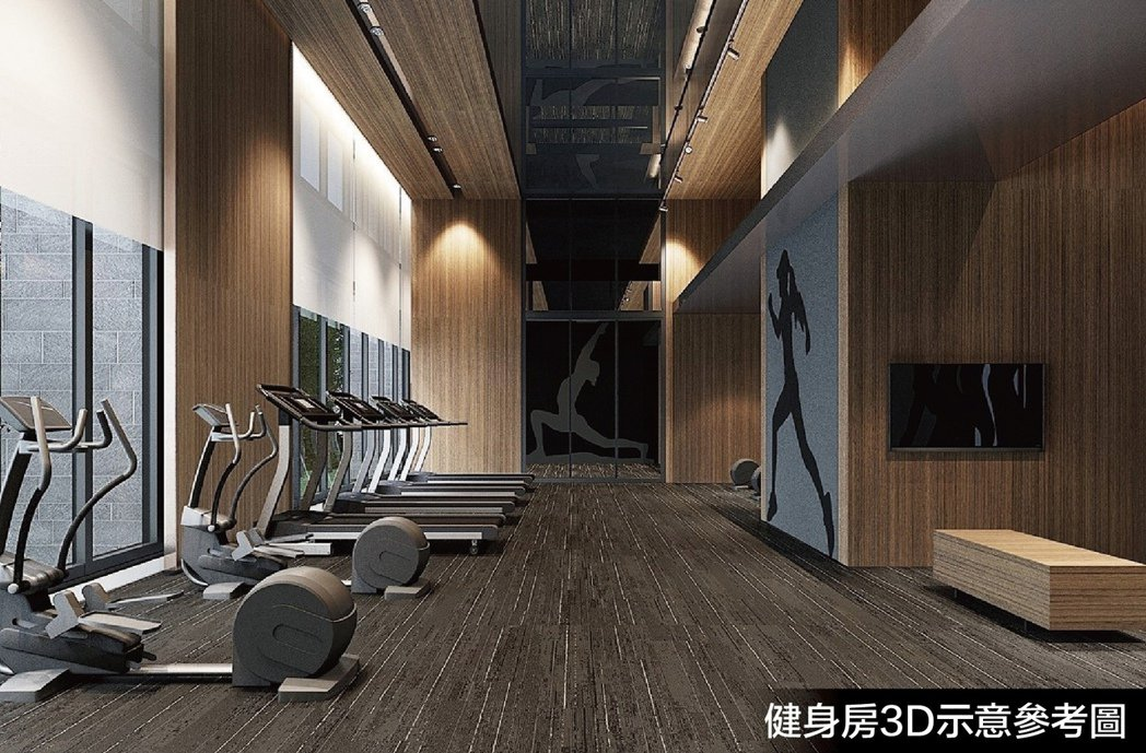 健身房3D示意參考圖。圖片提供/隆大營建事業