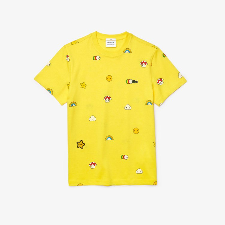 LACOSTE X FriendsWithYou黃色圓領T,售價3,180元。圖...