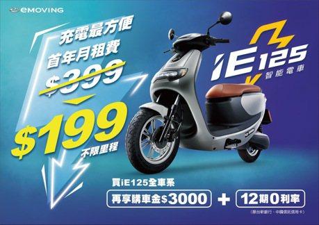 eMOVING iE125推充電199方案 空車月付不到4,000元輕鬆騎回家