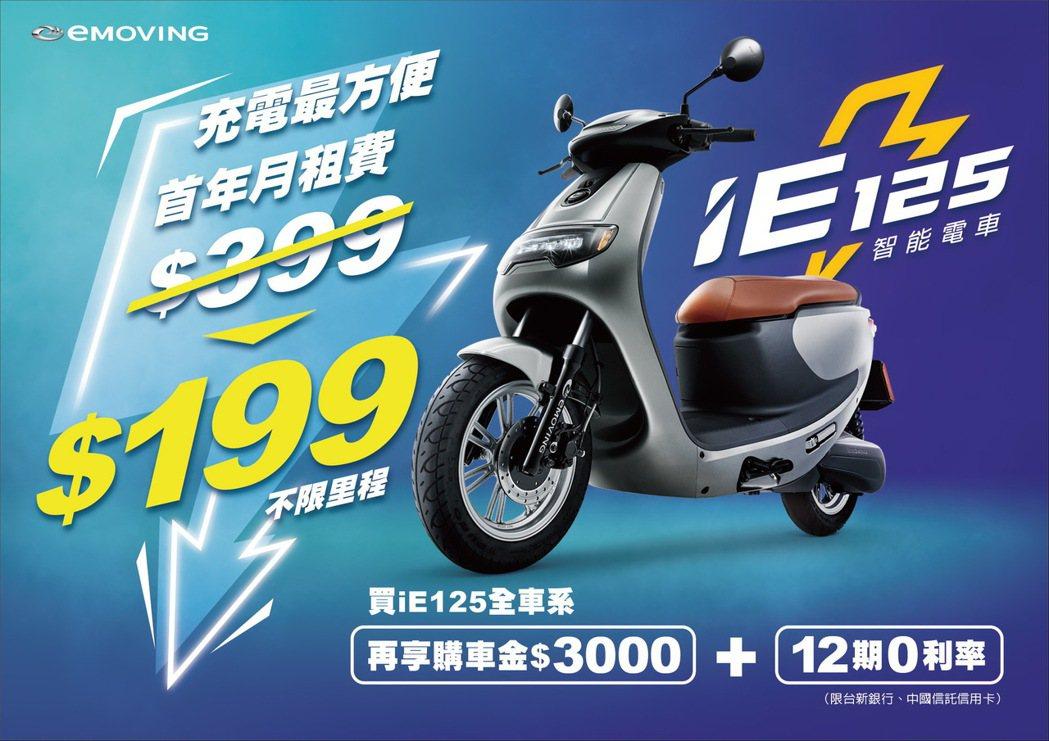eMONING iE 125 月租費最低只要199元。 圖/中華汽車提供