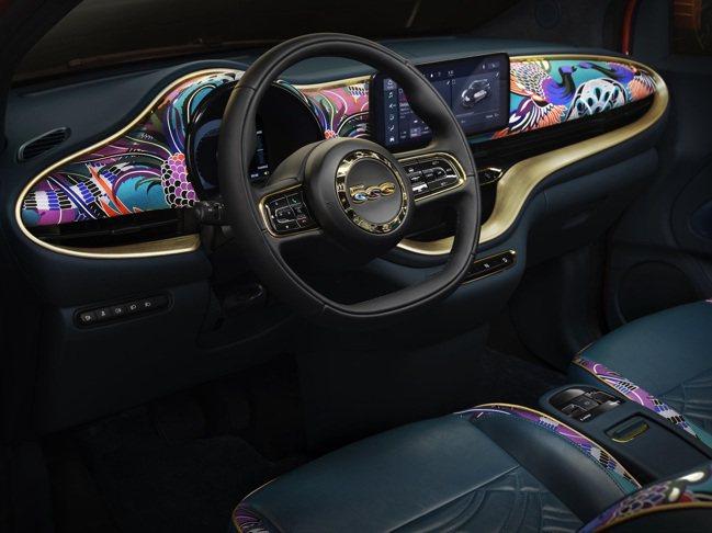 B.500 By BVLGARI儀表板裝飾寶格麗品牌經典彩色絲綢。圖/寶格麗提供