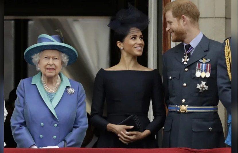 英國女王伊莉莎白二世(左起)、梅根、哈利。美聯社