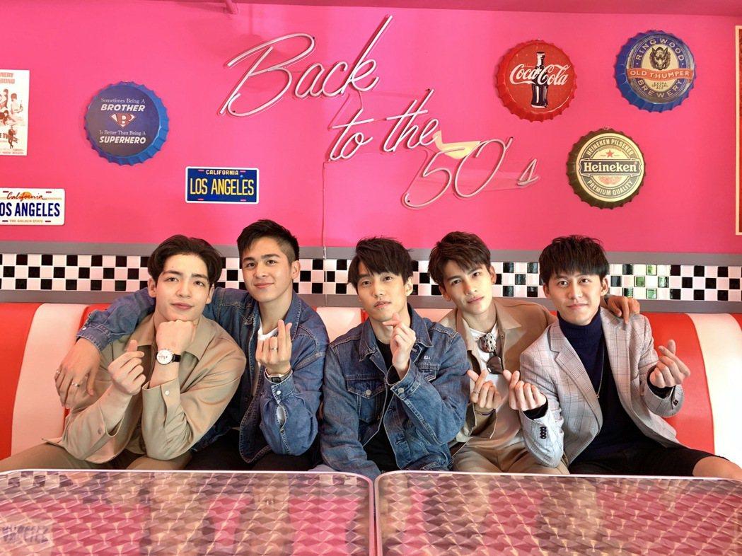 黃士杰(左起)、蘇韋華、徐謀俊、張又瑋、郭宇宸出席「2020因為愛你」粉絲見面會