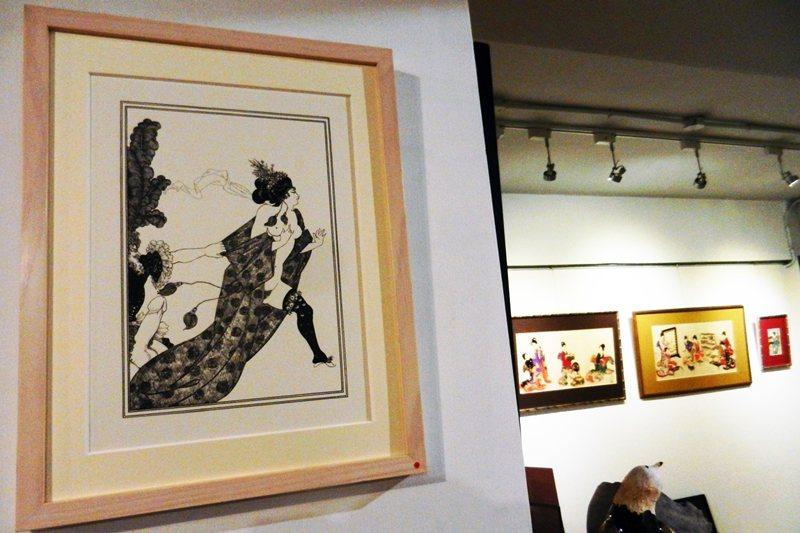 英國19世紀末插畫鬼才比亞茲萊早年曾受浮世繪的薰陶,後來畫風也影響了許多藝術家。 圖/作者提供