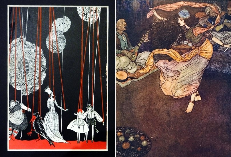 左:Kay Nielsen繪製《冰雪女王》插畫;右:Edmund Dulac繪製《一千零一夜》插畫,攝於舊香居「藝空間」。 圖/作者提供