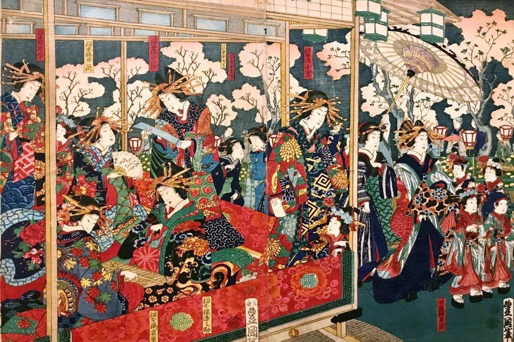 歌川豊國《東京新吉原仲之街花盛圖》,攝於舊香居「藝空間」。 圖/作者提供