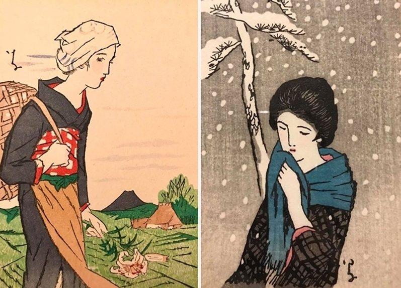 竹久夢二著名的「美人畫」,攝於舊香居「藝空間」。 圖/取自舊香居