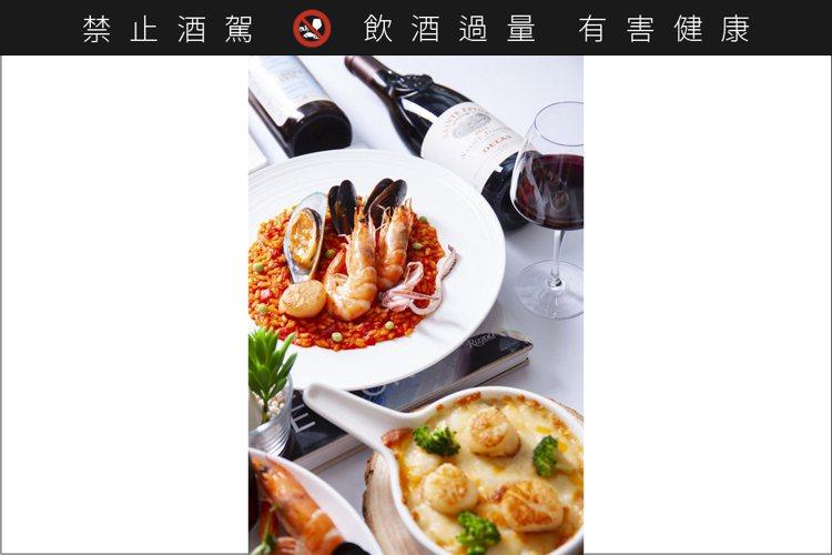 海鮮與紅白酒的組合,總是萬無一失,有滋有味。圖 / 享香檳海鮮餐酒館提供 圖 /...